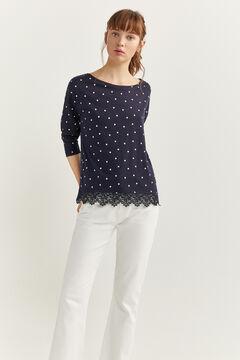 Springfield Camiseta crochet navy mezcla