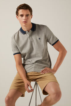Springfield Waffle polo shirt with contrast collar gray