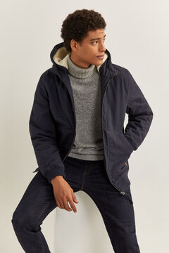Springfield SHEEPSKIN HOOD JACKET blue