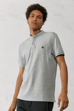 Springfield Slim fit mandarin collar polo shirt with velvet gray