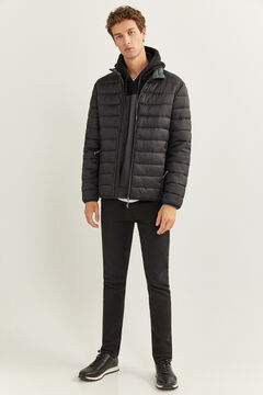 Springfield QUILTED JACKET WITH RECYCLED POLYESTER PADDING black