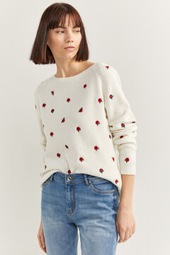 Springfield Embroidered flowers jumper ecru