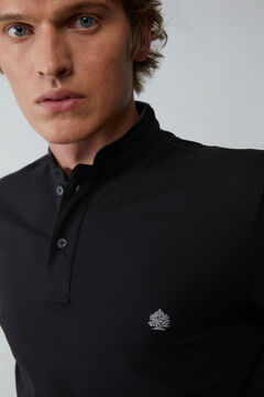 Springfield Slim fit mandarin collar polo shirt with velvet black