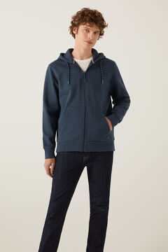 Springfield Essential zip-up sweatshirt bluish