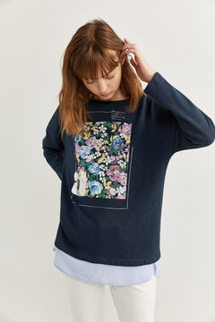 Springfield Two-material graphic sweatshirt blue mix