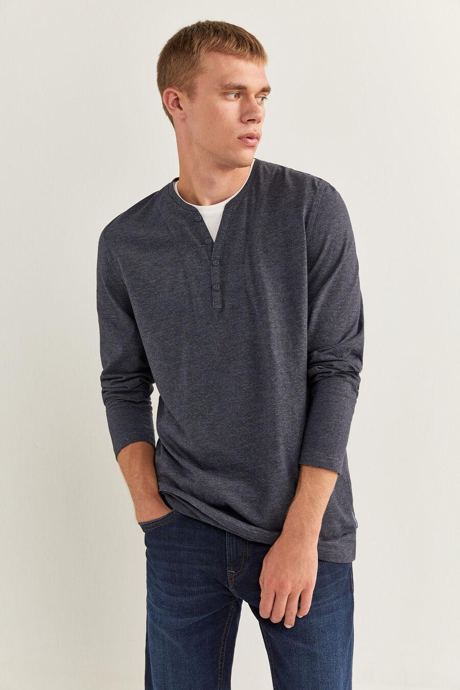T-shirt manches longues regular microrayure