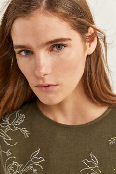 Springfield T-shirt Malha Cortada Flores Manchas água verde
