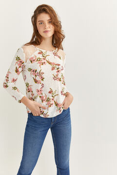 Springfield Printed t-shirt with lace shoulders ecru