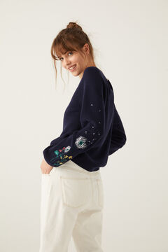 Springfield Floral Embroidery Sleeves Jumper indigo blue