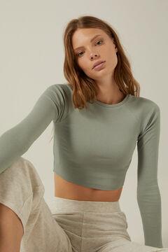 Springfield Organic cotton cropped T-shirt light gray