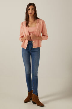 Knitted cardigan, top and skinny jeans set