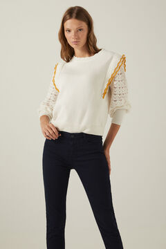jumper with ruffles and slim trousers set