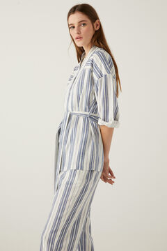 Linen striped blazer and culottes set