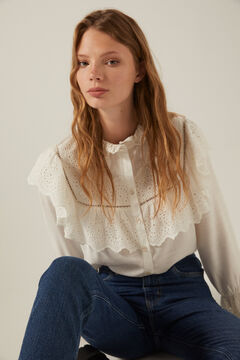 blouse with ruffles and  mon jeans set