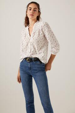 Print blouse and slim jeans set
