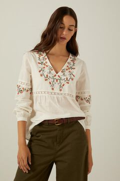 Embroidered blouse and culotte trousers set