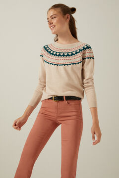 Jacquard jumper and coloured trousers set