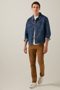 Conjunto de casaco básico de ganga e jeans elásticas