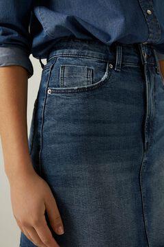 denim blouse and skirt set