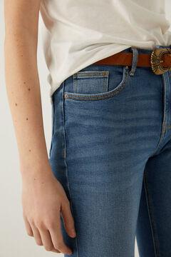 Crochet T-shirt and boot-cut jeans set