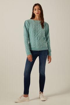 Knit jumper and slim jeans set.