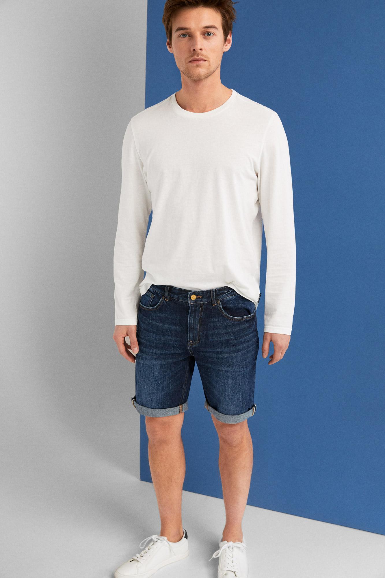 0a6fc8567 Calções jeans regular vintage lavagem escura